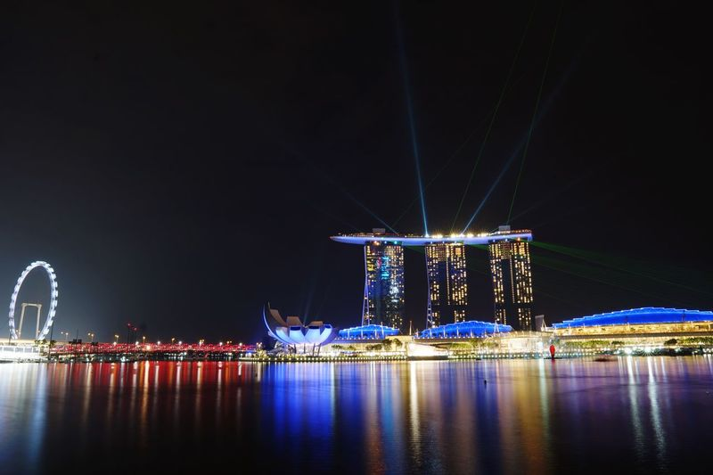 Nightscape Light And Shadow Sea Marina Bay Sands Singapore Sonyalpha Landscape