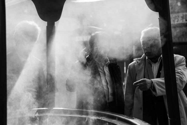 Adult Blackandwhite Day Men Outdoors People Real People Smoke - Physical Structure