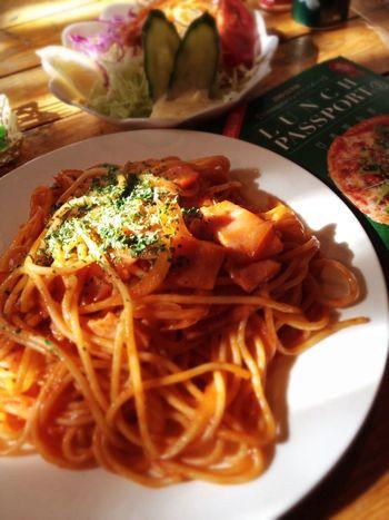 牧花亭のナポリタンセットをランパスで。サラダ、ドリンク付きで1150円→500円♪ IPhoneography Lunch Passport