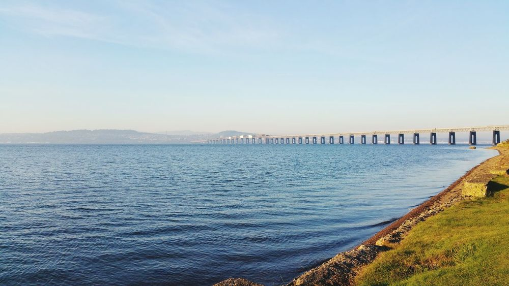 The Tay Railway Bridge Sea Sky Outdoors Beach Water Blue Beauty In Nature No People Horizon Over Water Day Scenics Tranquility Clear Sky Scotland Reflection Dundee Majestic River Cloud - Sky Landscape Wormitbay