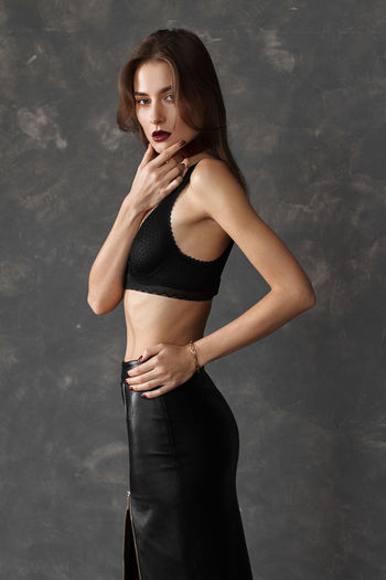 Beautiful Woman Beauty Black BlackDress Body & Fitness Choker Dress Fashion Fit Fitgirl Girl Hair Lingerie Model One Person Only Women Outfit Portrait Portraits Skinny Strong Strong Woman Studio Style Totalblack