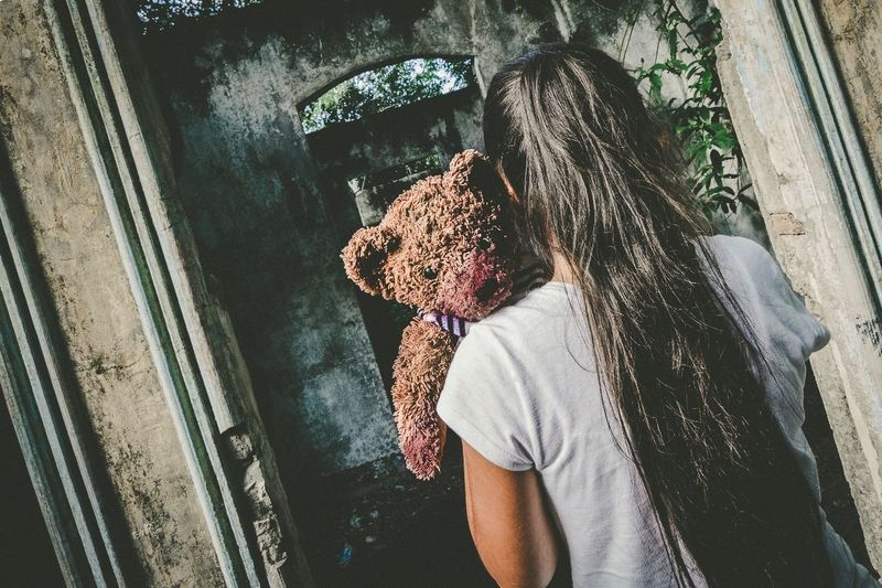 EyeEmNewHere One Person Real People Day Casual Clothing Leisure Activity Standing Lifestyles Outdoors People Adults Only Young Adult Adult One Man Only scary Horror Girl Scary Abandoned Teddy Bear