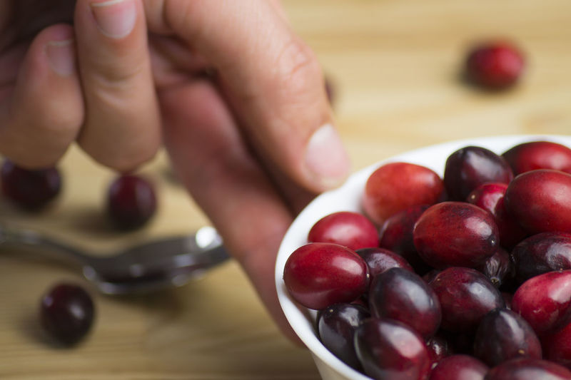 Cropped hand of person holding bowl with cranberry on table