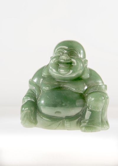 Buddha Buddha, Fat, Happy, Jade, Little, Scultpure, Smiling, Stone Close-up Fat Green Color Hanging Out Japan No People Smile Still Life Stob Studio Shot White Background