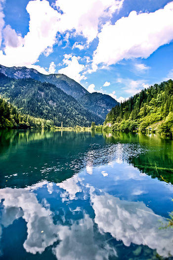 Reflection Lake Landscape Water Sky Mountain Blue Cloud - Sky Scenics Idyllic Beauty In Nature Outdoors Nature Mountain Range No People Glacier light and reflection Pure Pure Nature
