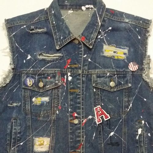@astroids x Bill Blass Denim Vest,Custom made for @lildarrion features Custom Distressing, The Simpsons fabric inserts,Paint Splatter with Patches and Metal Pins for detail!!Astroids Art TCSNT2 916 California Distressed DOPE Streetwear Somethingtodo Fuckem Cutandsew Custom DM for Serious Inquiries