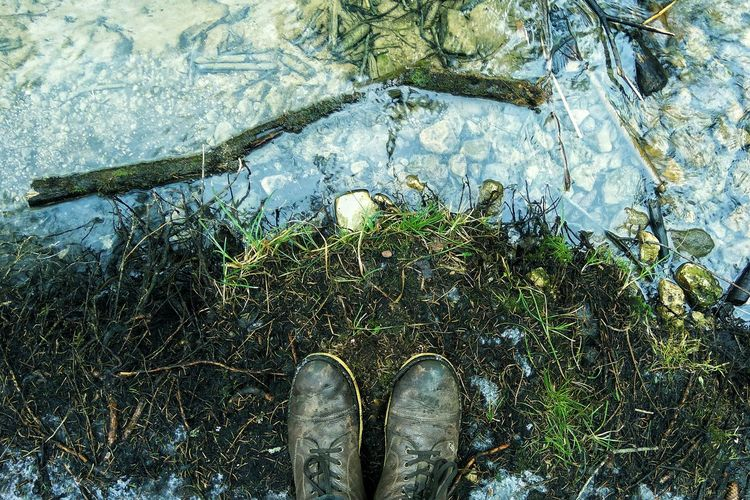 High angle view of shoes on field by stream