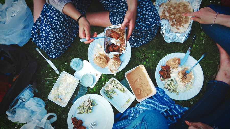 Low section of people eating food on grassy field