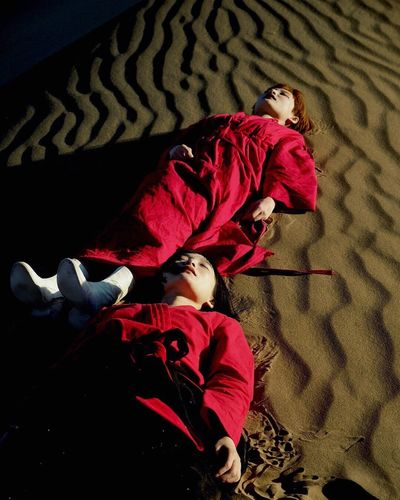 EntangledReds Lying Down Lying On Back One Person People Red Indoors  Young Adult Only Women One Woman Only Child Happiness Adult Smiling Females Beauty One Young Woman Only Day Desert Lost In The Landscape Be. Ready. The Traveler - 2018 EyeEm Awards