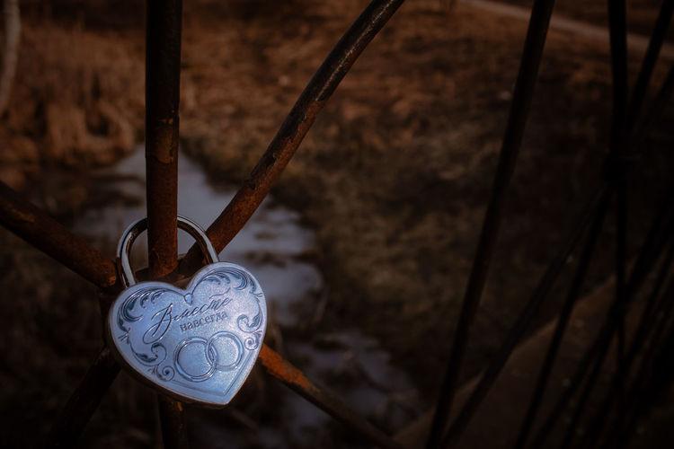Close-up of padlocks hanging on fence