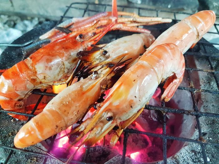 Shrimps grilled on the stove Grilled Snack Food And Drink Appetizer Snack Delicious Yummy Tasty Taste Gourmet Party Seafood Close-up Food And Drink Lobster Shrimp Shrimp - Seafood Prawn