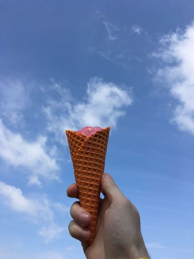Cropped Hand Of Person Holding Ice Cream Cone Against Sky