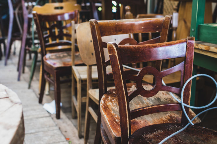 Antique Second Hand Cafe Chair Day Empty Focus On Foreground Furniture Garage Sale Israel No People Outdoors Seat Table Tel Aviv Wood - Material