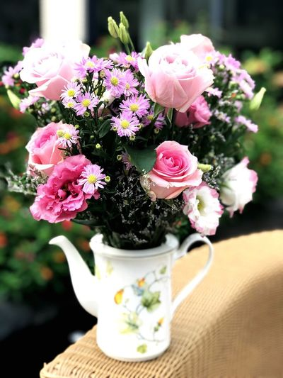 What to do with a teapot? The Power Of Flowers Flower Flowering Plant Plant Freshness Beauty In Nature Pink Color Flower Arrangement Decoration