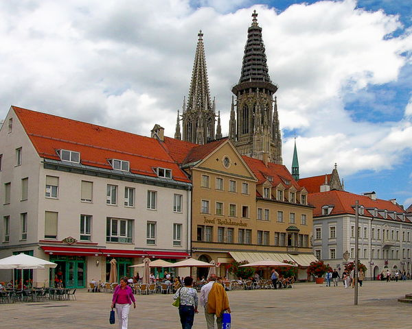 Market square in Regensburg, Bavaria, Germany Architecture Bavaria Building Exterior Built Structure City Clock Clock Tower Cloud - Sky Day Germany History Large Group Of People Market Outdoors People Regensburg Sky Square Tourism Travel Travel Destinations
