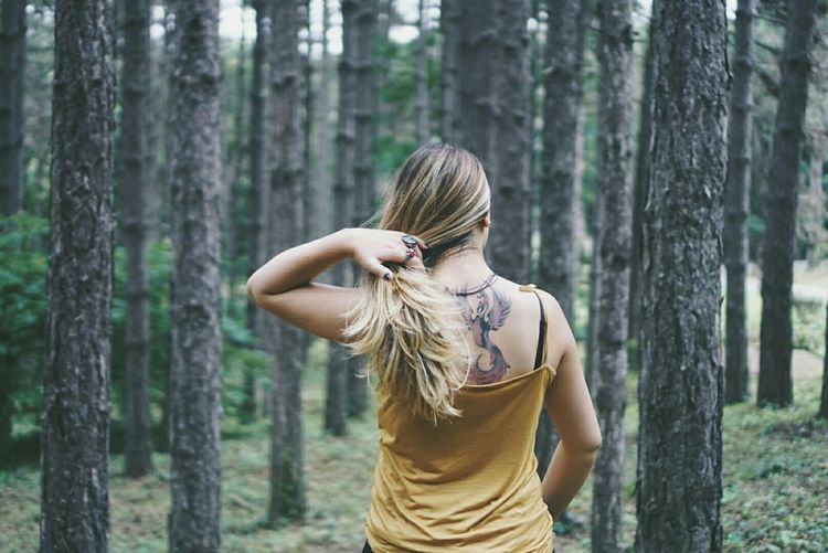 Forrest Trees Tattoo Blonde Girl EyeEmBestPics EyeEmbestshots Eye4nature EyeEm Nature Lover ın The Forrest Forrest Nature