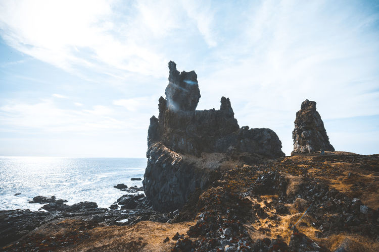 Days of travel: 5 - Londrangar cliffs Iceland Londragar Rock Formation Beach Beauty In Nature Cloud - Sky Horizon Horizon Over Water Iceland_collection Land Nature No People Outdoors Rock Rock - Object Rock Formation Rocky Coastline Scenics - Nature Sea Sky Solid Stack Rock Tranquil Scene Tranquility Water The Great Outdoors - 2018 EyeEm Awards My Best Travel Photo