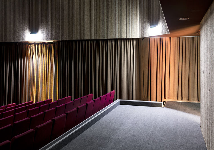 Artificial Light Curtains Interior No People Theatre