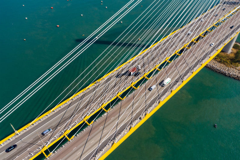 Aerial view of suspension bridge over bay