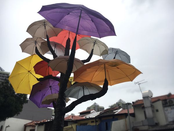 Protection Multi Colored Outdoors Low Angle View No People Day Architecture Sky Umbrella