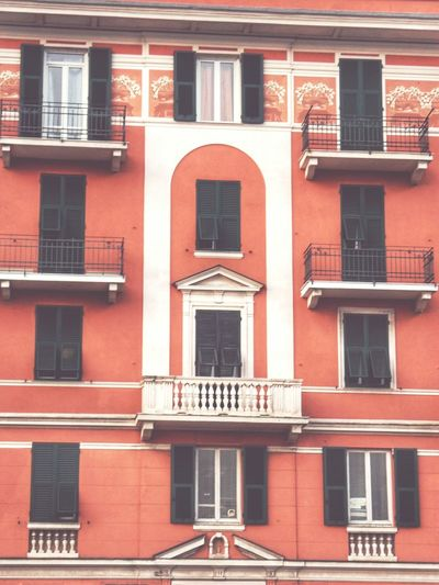 """Facciata"". Facades Building Red Palazzi Facciata Point And Shoot / Eyeemfilter S plus EyeEmFade / Genovese Italy Genova-Pra'"