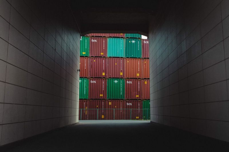 Architecture Built Structure Wall - Building Feature Indoors  No People Building Multi Colored Large Group Of Objects Container Day Green Color Cargo Container