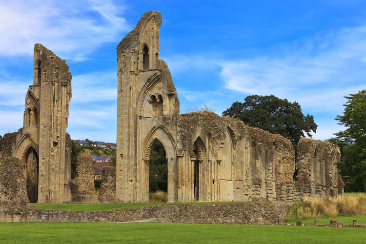Uk United Kingdom Sunlight Historical Abbey Perspective Travel Wide Somerset European  Landmark Old Sights Historic Sightseeing Britain Famous England English Blue Ruin Great Britain Glastonbury British Sky Country Tourism Monastery Ancient West Angle Monument Europe Benedictine