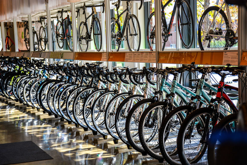Bicycle Bicycle Rack Bicycle Shop Day In A Row Land Vehicle Large Group Of Objects Mode Of Transport No People Outdoors Transportation