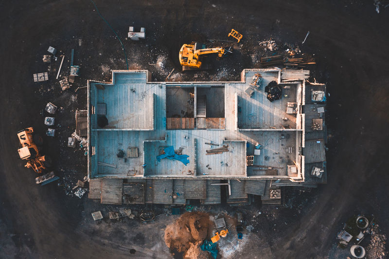High angle view of abandoned machine