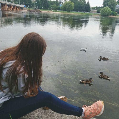 Water Women Sitting Swimming Lake Long Hair Rear View Young Women