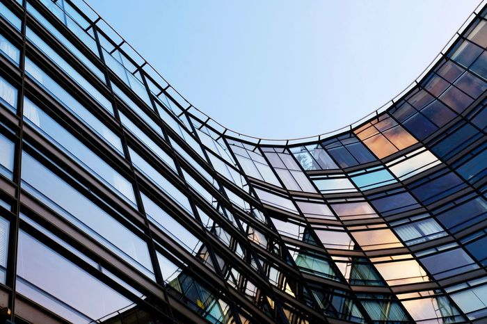 Architecture Built Structure Building Exterior Window Low Angle View Clear Sky Modern No People Outdoors Day Futuristic Sky Colorful Colourful Rainbow Urban Reflection Windows Glass Check This Out EyeEm Best Shots Sunset Golden Hour in London , United Kingdom Postcode Postcards