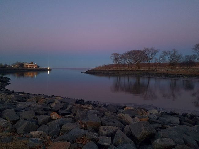 A calm evening at Glen Island Park, New Rochelle (3/18/2018). Water Sea Clear Sky Pebble Sky Horizon Over Water Landscape Tranquil Scene Low Tide Scenics