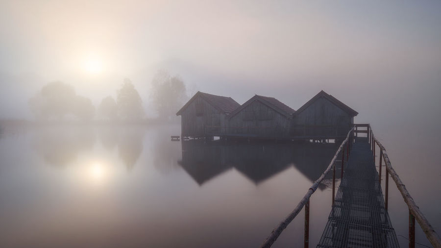 Lake View Built Structure Tranquil Scene Tranquility Reflection Fog No People Lake Scenics - Nature Beauty In Nature House Building Exterior Nature Water Sunlight Lonely Relaxing Calm Moodygrams Moody Sky Dreamy