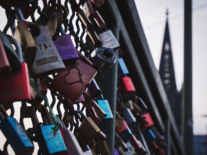 I ❤️ Cologne Padlock Lock Love Lock Security Love Hanging Railing Metal Bridge - Man Made Structure Close-up Outdoors No People