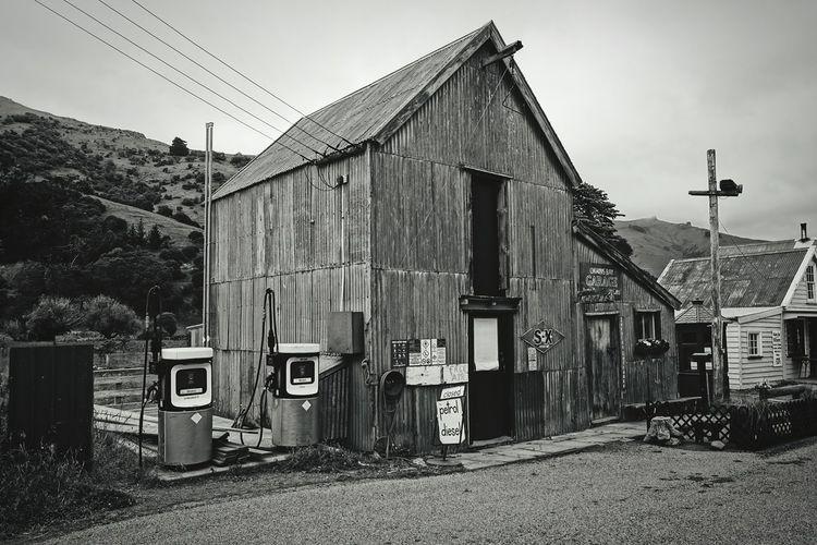 New Zealand Gasoline Gasolinestation Wasteland New Zealand Impressions Black And White Photography Melancholic Landscapes