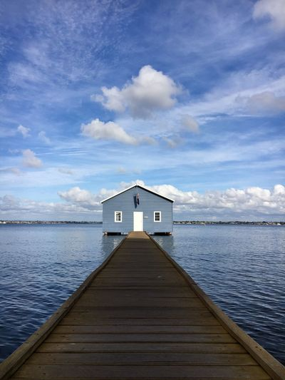 The blue house Blue Sky Water Built Structure Cloud - Sky Sky Architecture Pier Tranquility Sea No People Jetty Outdoors Scenics