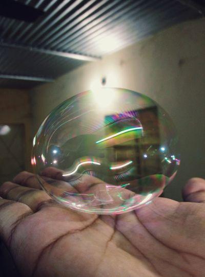 A Nice Round Bubble. Bright Bubble Bubbles Indoors  Light Reflection Shining Shining Bright Like A Diamond Unique