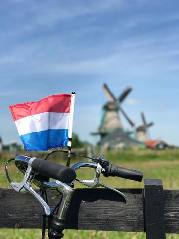 Day Outdoors Focus On Foreground No People Transportation Nature Sky Amsterdam Holland Windmill Windmill Of The Day Amsterdamthroughmycamera Flag Flags In The Wind