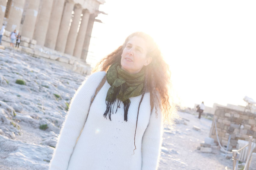 sunset on the Acropolis, Athens Greece with Raphaela Gilla One Person Leisure Activity Long Hair Hair Portrait Hairstyle Lifestyles Young Adult Happiness Young Women Nature Real People Day Waist Up Smiling Standing Casual Clothing Front View Beautiful Woman Outdoors