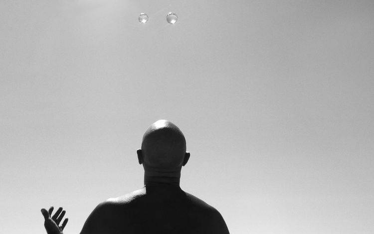 Bald Man Baldness Black & White Black And White Casual Clothing Day Headshot Leisure Activity Lifestyles Low Angle View Nature Sky The Fine Art Photography The OO Mission