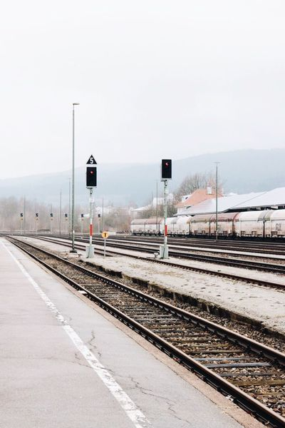 Furth im Wald, Germany. Train Station Transportation Traveling Railway Rails Red Light Emptiness Loneliness No People Moody Sky Mood Captures Minimalmood Urban Landscape EyeEm Deutschland