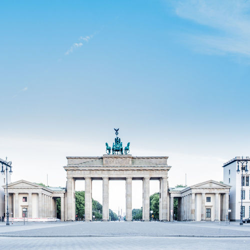 Early morning view on Brandenburger Tor and Pariser Platz in central Berlin, Germany. Architecture Berlin Blue Brandenburger Tor Built Structure Capital Cities  City Life Early Empty Europe Famous Place Germany Historic History International Landmark Morning Nobody Sightseeing Sky Tourism Travel Travel Destinations Urban