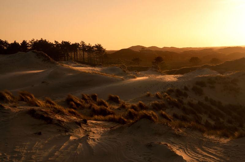 Sand Dunes At Desert During Sunset