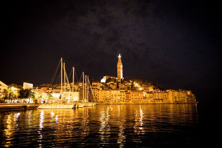 Rovinj Rovinj Croatia Water Building Exterior Architecture Night Built Structure Illuminated Building Nature Travel Destinations City Sea