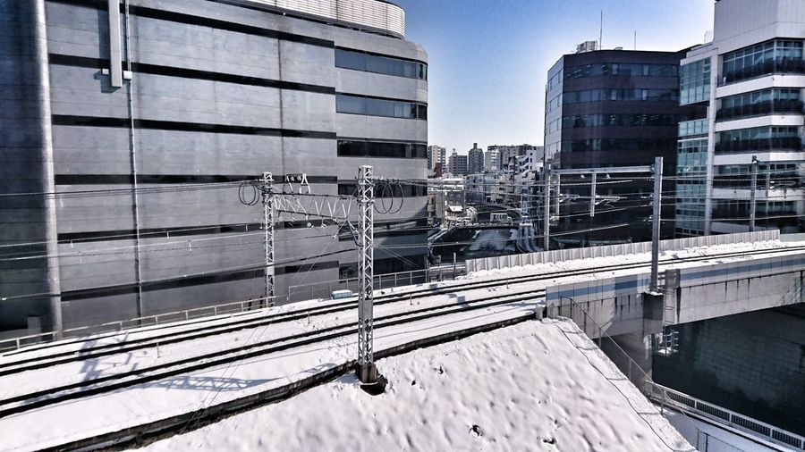 Snow ❄ Railway Track Buildings & Sky Between Buildings Bridges Winter Cityscape After Snowing Day From Train Window Tokyo,Japan Architecture Transportation Built Structure City Day Sky