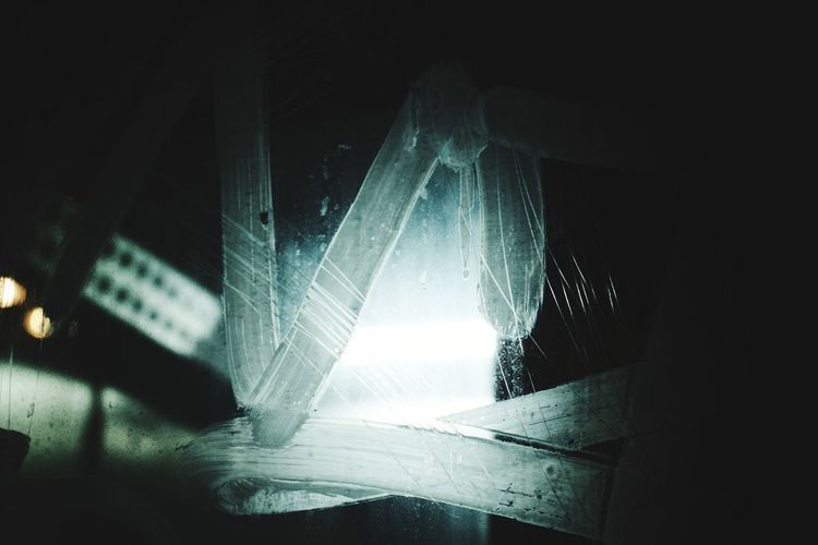 Close-up view of illuminated lights