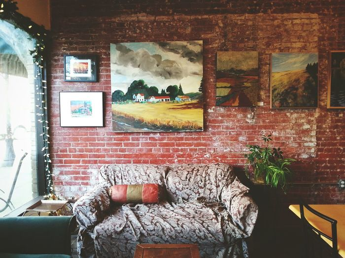Cafe Coffeshop Coffee Shop Art Background Brick Couch Pillow