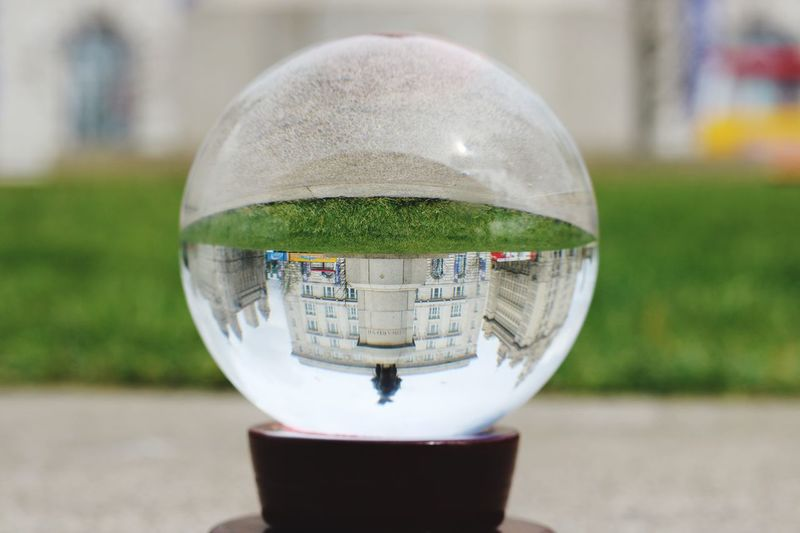 Focus On Foreground Close-up Crystal Ball Reflection Built Structure Day Architecture Outdoors No People Building Exterior Nature Liverpool, England Liverpool Threegraces Waterfront Cityscape Skylines City Low Angle View