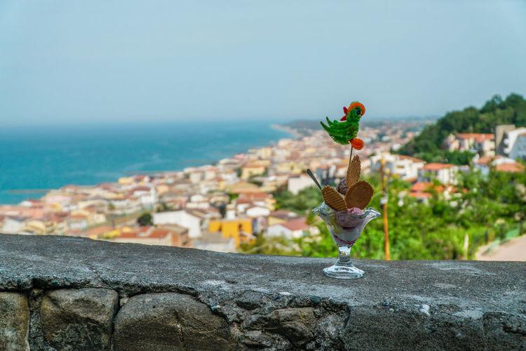 Bird on retaining wall by sea against sky