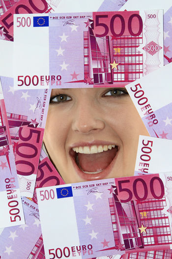 Young woman looking through 500 Euro notes 500 Euro Happiness Happy Lottery Winning Woman Close-up Currency Euro Notes Financal Finance Girl Headshot Indoors  Looking Through Lotto Money One Person Paper Currency Portrait Savings Wealth Winner Young Adult Young Women
